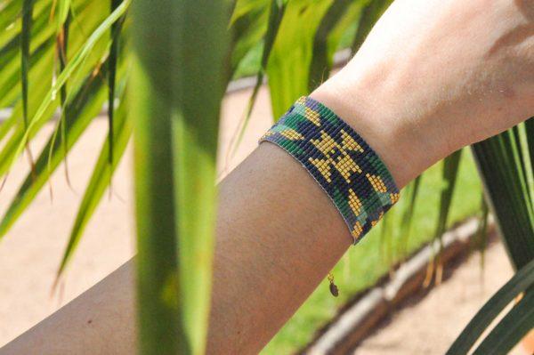 bracelet ethnique tikal vert bleu doré