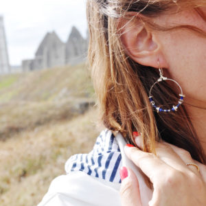Boucles créoles bleu et argenté