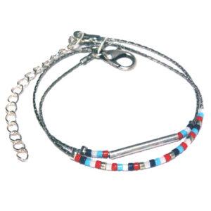 Bracelet fin 2 rangs perles miyuki style marin montées sur fine chaine argenté