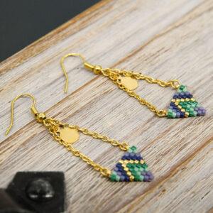 Boucles d'oreilles tombantes chaine doré et tissage miyuki en forme de triangle