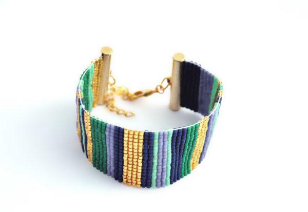 bracelet manchette tissage Miyuki ligne vert bleu doré violet apprêts dorés à l'or fin