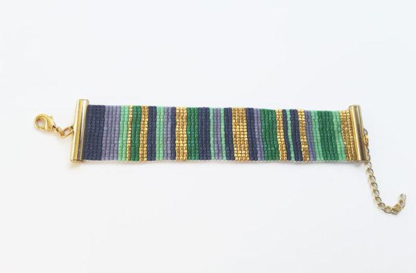 bracelet manchette tissage ligne vert bleu doré violet apprêts dorés à l'or fin