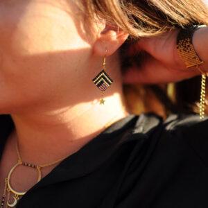 Ensemble Poussières d'étoiles bracelet collier et boucles d'oreilles