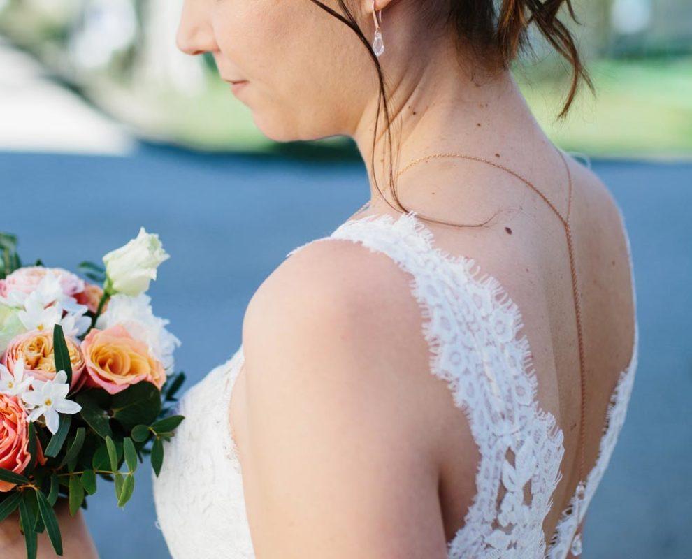 photo mariée collier boucles rose doré  swarovski