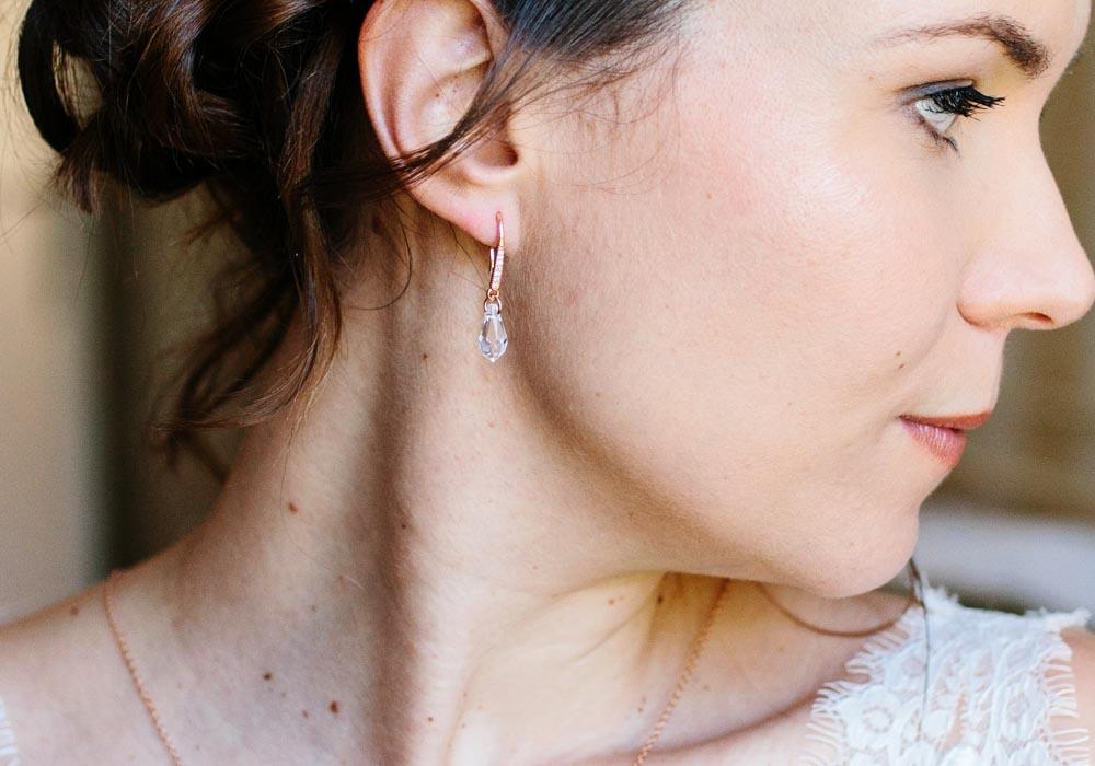 photo mariage boucles rose doré swarovski