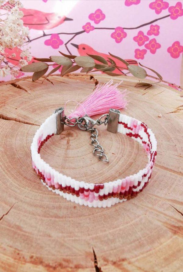 bracelet fleur de cerisier tissé