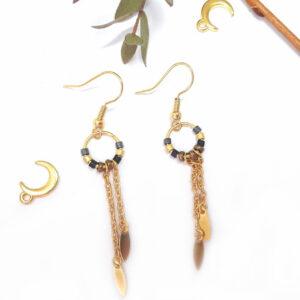 boucles d'oreilles nashira perles tombantes dorées