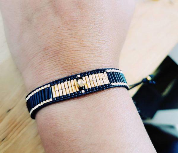 bracelet orion tissé doré noir