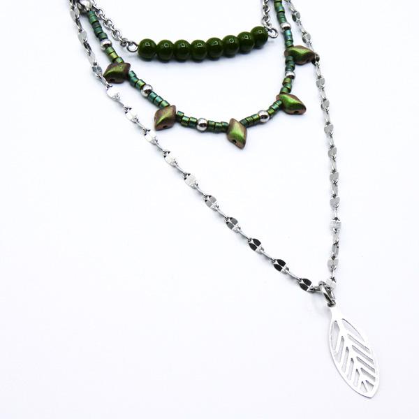 collier-khaki perles inox