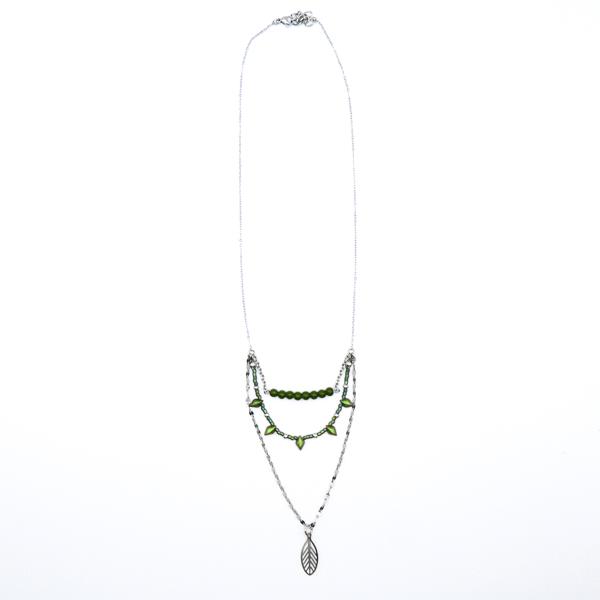collier kaki perles acier inox