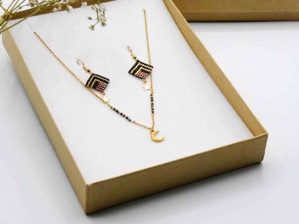 coffret parure bijoux noir et doré