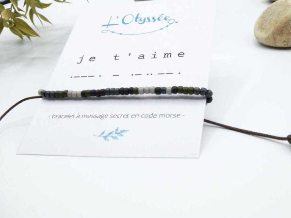 bracelet je t'aime homme perles message codé