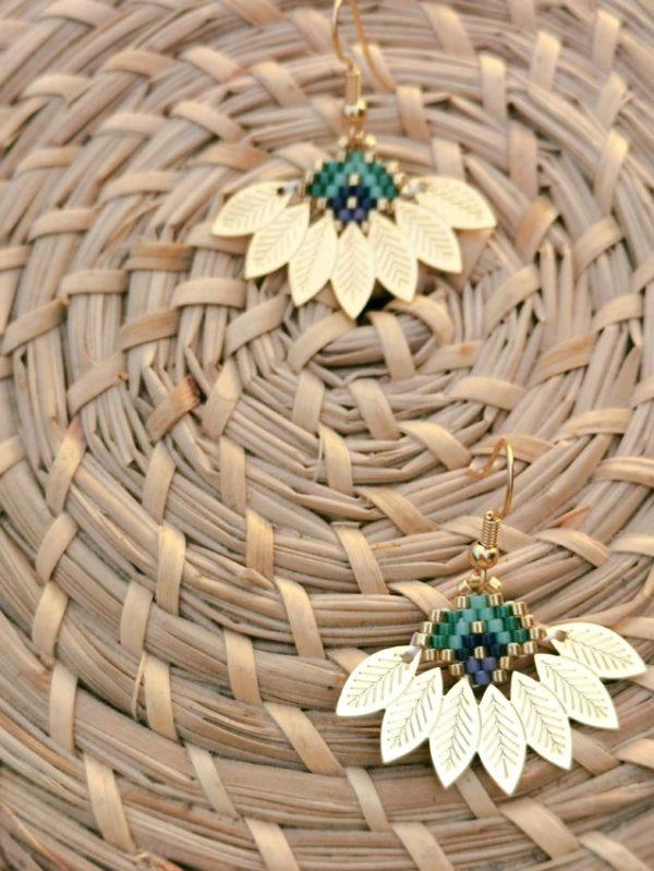 boucles d'oreilles métal er perles tissées dorée