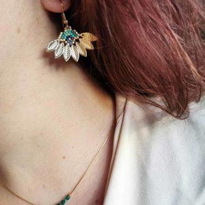 Boucles d'oreilles feuilles miyuki