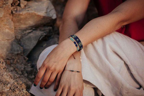 bracelet nefertiti bleu