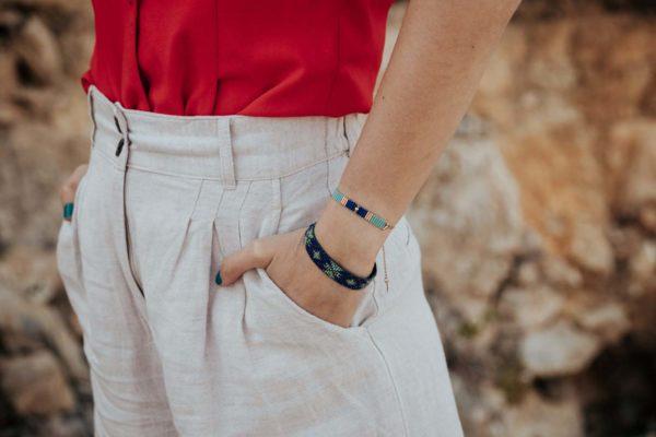 Bracelets tissés miyuki portés bleus