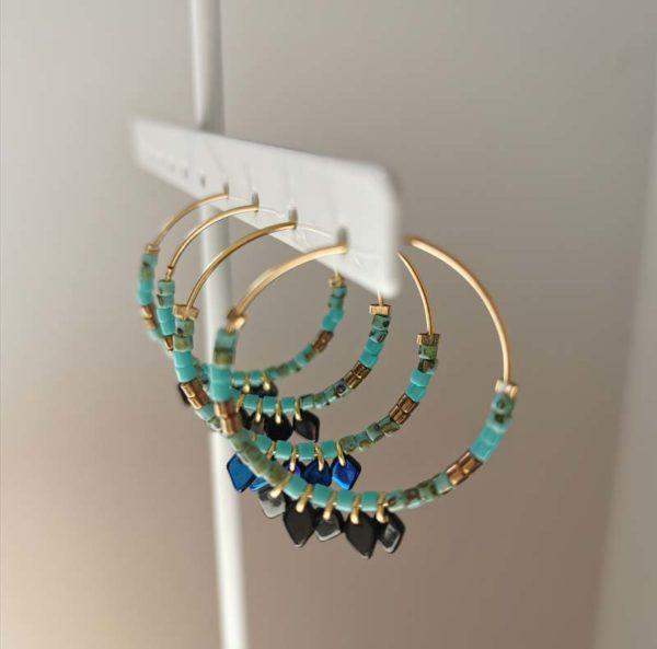 créoles bleu perles