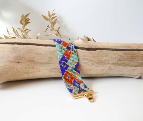 bracelet large tissé bleu ocre bronze