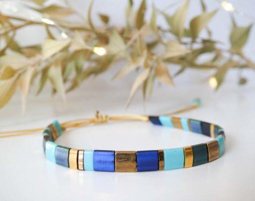 bracelet perles tila bleu