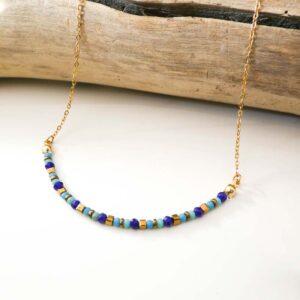 collier fin perles verre