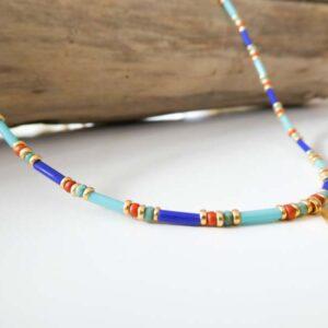 Collier perles et losange