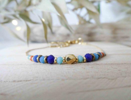 bracelet chaine doré perles